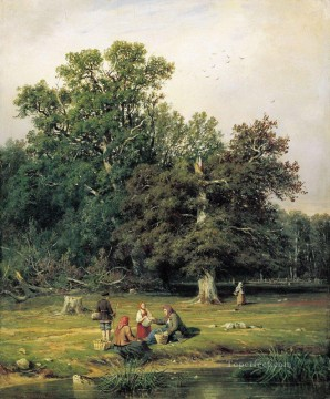 GATHERING Art - gathering mushrooms 1870 classical landscape Ivan Ivanovich trees