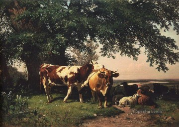 landscape Painting - herd under the trees 1864 classical landscape Ivan Ivanovich woods