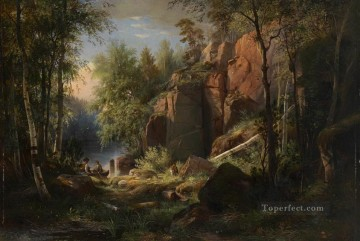 view of valaam island kukko 1860 classical landscape Ivan Ivanovich forest Oil Paintings