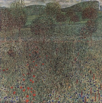 Blooming field Gustav Klimt woods forest Oil Paintings