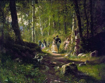landscape Painting - a walk in the forest 1869 classical landscape Ivan Ivanovich trees