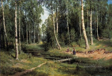 in the birch tree forest 1883 classical landscape Ivan Ivanovich trees Oil Paintings