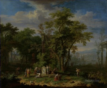 landscape Painting - Arcadian Landscape with a Ceremonial Sacrifice Jan van Huysum woods landscape