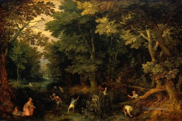 Artworks in 150 Subjects Painting - Latona and the Lycian Peasants Flemish Jan Brueghel the Elder woods forest