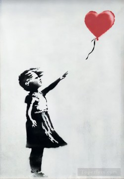 Artworks in 150 Subjects Painting - Banksy Girl With Balloon the self destructed work at Sothebys auction