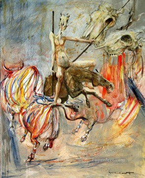 Modern Painting - Don Quichotte et le Sortilege des Vaches a rayures MP Modern