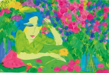 Modern Painting - Lady with Flowers and Fruit Modern