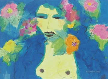 Modern Painting - Woman with Flower in Her Mouth Modern