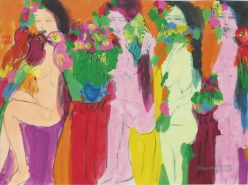 Modern Painting - Four Ladies Modern