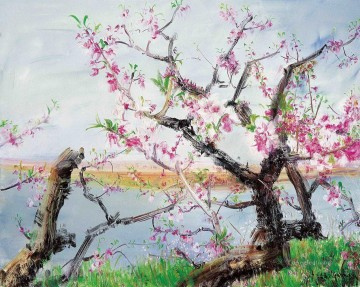 Modern Painting - Peach Blossom Dancing in Spring Wind Modern