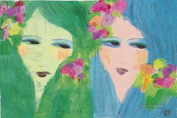 Modern Painting - Two Ladies with Flowers in their Hair Modern