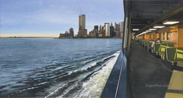 Modern Painting - ON THE STATEN ISLAND FERRY LOOKING TOWARD MANHATTAN Modern