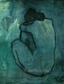 Abstract Nude Painting - Blue Abstract Nude