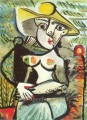 Femme au chapeau assise Abstract Nude