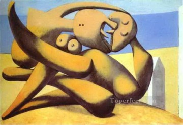 Abstract Nude Painting - Figures on a Beach 1931 Abstract Nude