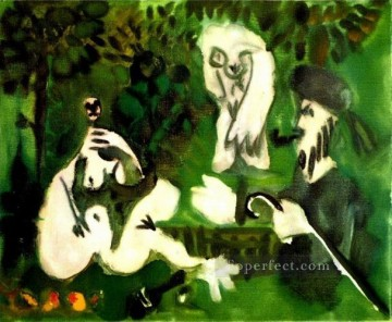 Abstract Nude Painting - Le dejenuer sur l herbe Manet 3 1960 Abstract Nude