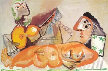 Nu couch et homme jouant de la guitare 1970 Abstract Nude Oil Paintings