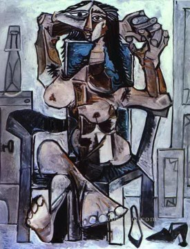 Abstract Nude Painting - Nude in an Armchair with a Bottle of Evian Water a Glass and Shoes Abstract