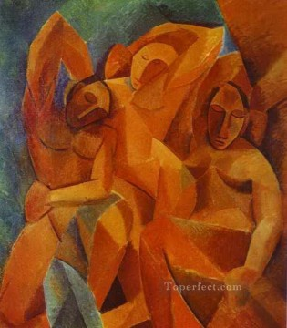 Abstract Nude Painting - Three Women 1908 Abstract Nude