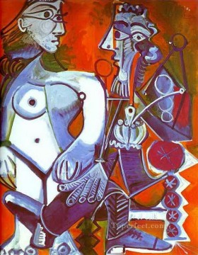 Abstract Nude Painting - Female Nude and Smoker Abstract