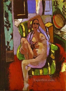 Abstract Nude Painting - Nude Sitting in an Armchair Abstract