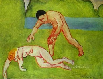 Abstract Nude Painting - Satyr and Nymph 1909 Abstract Nude