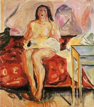 Abstract Nude Painting - girl yawning 1913 Abstract Nude