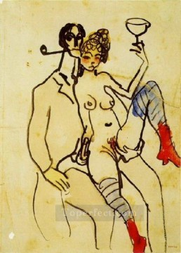Abstract Nude Painting - Angel Fernandez de Soto with woman Angel Fernandez de Soto avec une femme Abstract Nude
