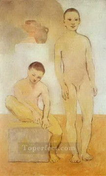 Abstract Nude Painting - Deux jeunes 1905s Abstract Nude