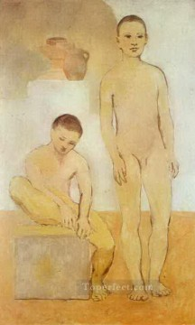 Abstract Nude Painting - Two Youths 1905s Abstract Nude