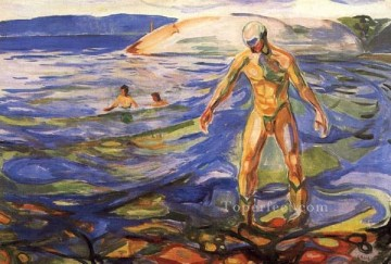 Abstract Nude Painting - bathing man 1918 Abstract Nude