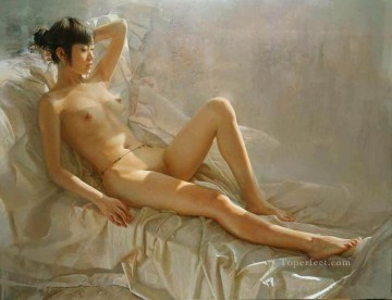 After the Rain Chinese Girl Nude Oil Paintings