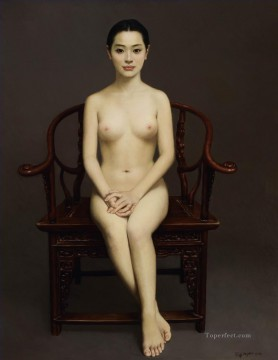 Ancient Chair Chinese Girl Nude Oil Paintings