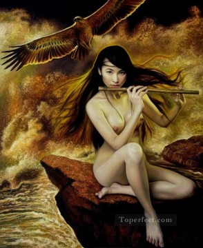 Chinese Nude Painting - Eagle and Fluting Beauty Chinese Girl Nude