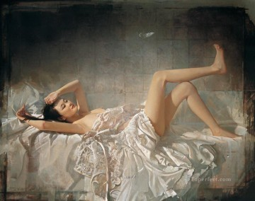 Chinese Nude Painting - Falling Dream Chinese Girl Nude
