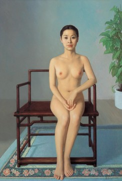Nude on Buddhist Chair Chinese Girl Nude Oil Paintings