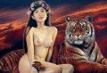 Tiger under Starry Sky Chinese Girl Nude