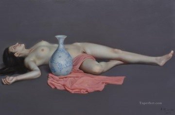 Artworks in 150 Subjects Painting - blue and white beauty Chinese nude
