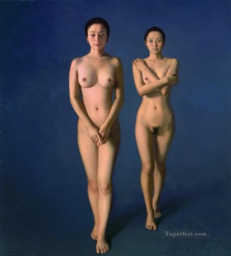 Blue Chinese Girl Nude Oil Paintings