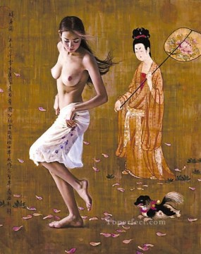Chinese Nude Painting - Falling Flowers Chinese Girl Nude