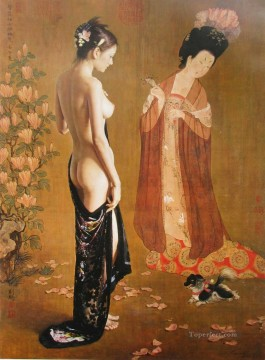 Chinese Nude Painting - Lady Wearing Flowers Chinese Girl Nude