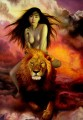 Riding Lion under Red Clouds Chinese Girl Nude