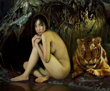 Chinese Nude Painting - Tiger after the Rain Chinese Girl Nude