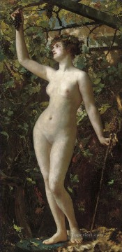 A Bacchante Henrietta Rae Classical Nude Oil Paintings