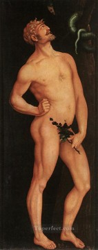 Classic Nude Painting - Adam nude painter Hans Baldung