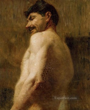 Classic Nude Painting - Bust of a Nude Man post impressionist Henri de Toulouse Lautrec