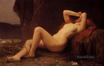 vagabonds resting in a cave Painting - Mary Magdalene In The Cave female body nude Jules Joseph Lefebvre