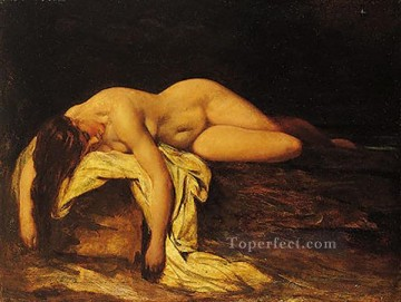 sleep Painting - Nude Woman Asleep female body William Etty