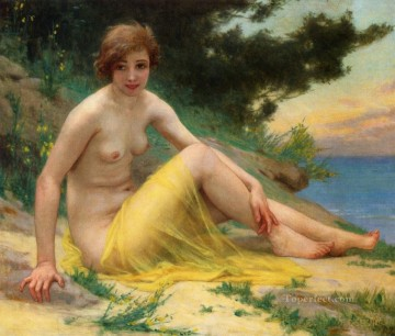 nude Painting - Nude at the Beach On the Shore Nu Sur La Plage Guillaume Seignac classic nude