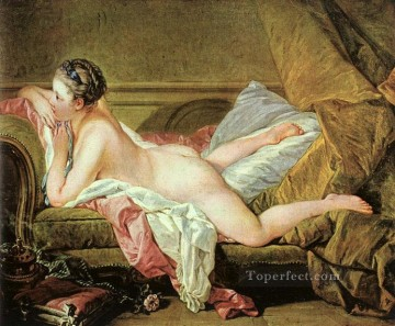 Nude on a Sofa Rococo female body Francois Boucher Oil Paintings